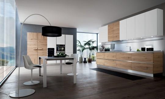 Cucina contemporanea, ma senza rinunciare al calore del legno ...
